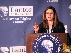 Iraqi lawmaker Vian Dakhil speaks after receiving the Lantos Human Rights Prize at a Capitol Hill ceremony on Feb. 8, 2017. RNS photo Adelle M. Banks